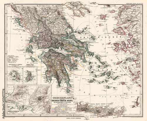 Greece vintage map Wallpaper Mural