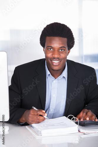 Garden Poster Happy Businessman Calculating Finance