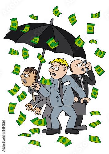 Photo Businessmen with an umbrella under money rain