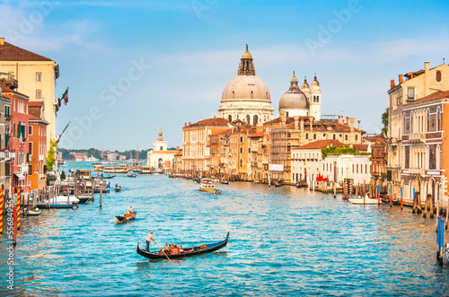 Poster Venice Grand Canal and Santa Maria della Salute at sunset, Venice