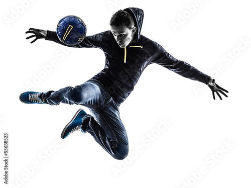 Fotografie, Obraz  Mladík fotbalový FREESTYLER hráč silueta
