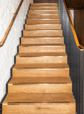 Wooden oak straight stairs
