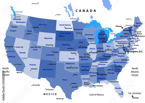 BLUE USA map with states and capital cities - Buy this stock vector ...