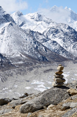 Stone marker in Khumbu region,Himalayas,Nepal