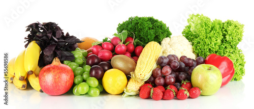 Keuken foto achterwand Verse groenten Different fruits and vegetables isolated on white