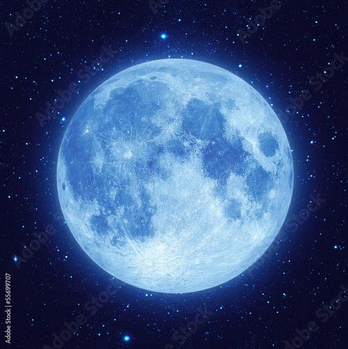 Full blue moon with star at dark night sky