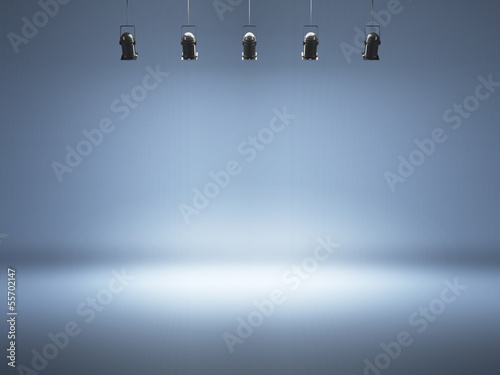 Keuken foto achterwand Licht, schaduw blue spotlight background with lamps
