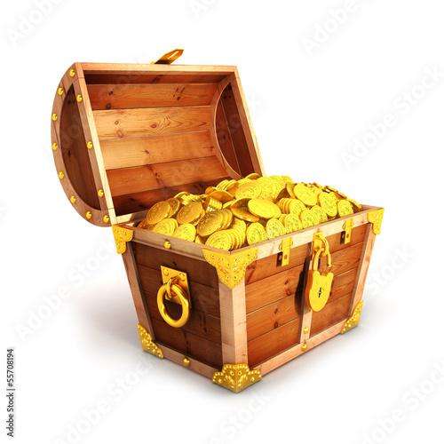 Fotomural 3d golden treasure chest