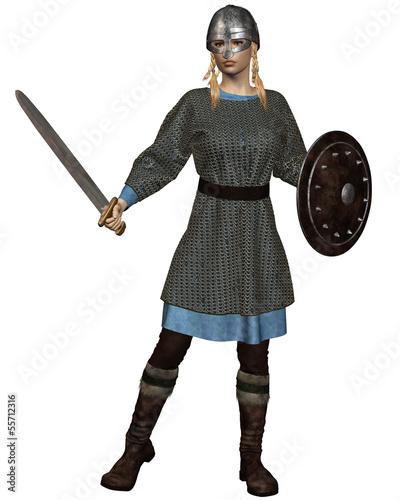 Viking or Anglo-Saxon Shield Maiden Tapéta, Fotótapéta