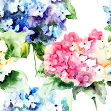 Seamless Pattern With Beautiful Hydrangea Blue Flowers