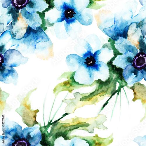 Bezszwowa tapeta z lato błękitnymi kwiatami