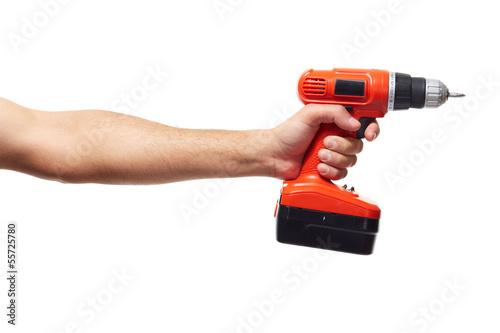 Fotografia  Hand with drill.