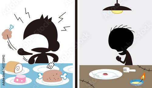 飽食の子供と飢餓寸前の子供 Canvas-taulu