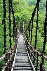 Fototapeta Bambus Pont de lianes Kazura-bashi à Oku Iya, Shikoku, Japon