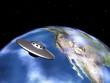 Die Erde mit Alien Raumschiff