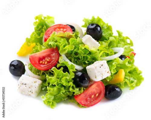 Fotografie, Obraz  Greek Salad with Feta Cheese, Tomatoes and Olives