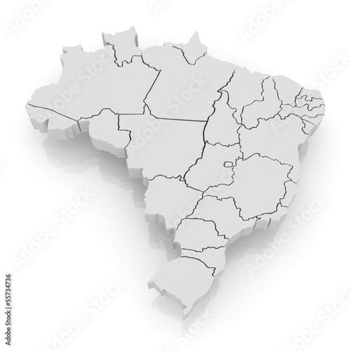 Fotografía  Three-dimensional map of Brazil.