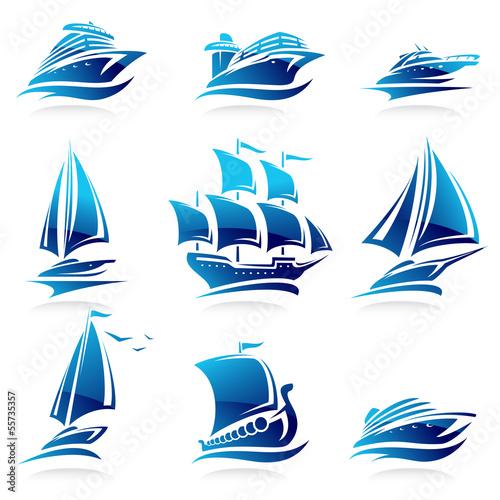 Fotografia  Ships set. Vector