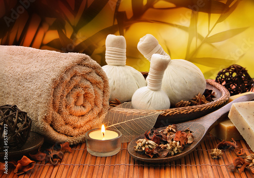 Fotografie, Obraz  Massage background with rolled towel, spa balls and candlelight