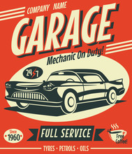 Retro Car Service Sign. Vector Illustration.