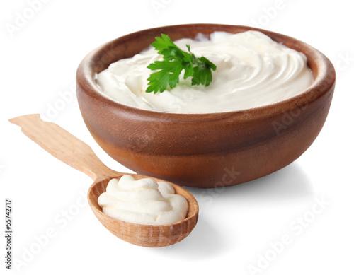 Fotografie, Obraz  Sour cream isolated on white