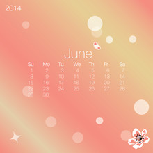 2014 Calendar June, Vector