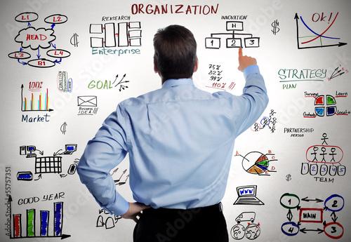 Fotografía  Businessman and business organisation scheme.