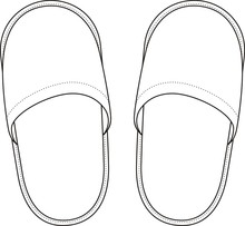 Vector Fashion Illustration Of Home Slippers