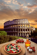 Colosseum With Italian Pizza I...