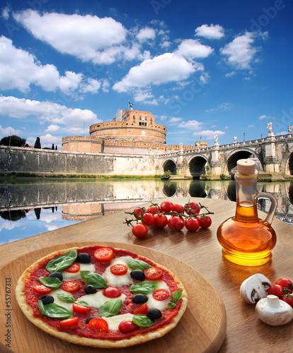 Photo  Rome with Italian pizza, Italy
