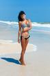 young beautiful girl in a bikini on a beach