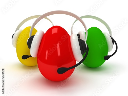 Colored eggs with headsets isolated over white