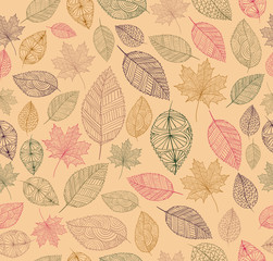 Fototapeta Liście Vintage drawing fall leaves seamless pattern background. EPS10 f