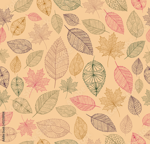 Vintage drawing fall leaves seamless pattern background. EPS10 f - 55789104