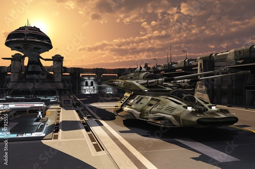 Fotografie, Obraz  Futuristic military base and antigravity tank