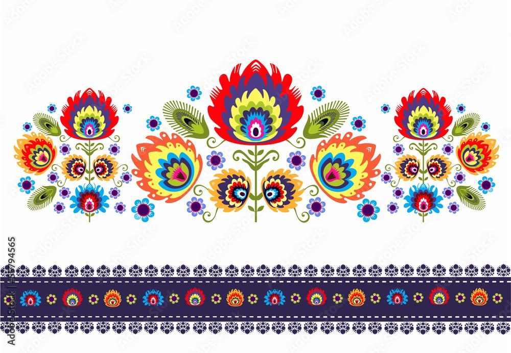 Fototapeta wzór ludowy z kwiatami