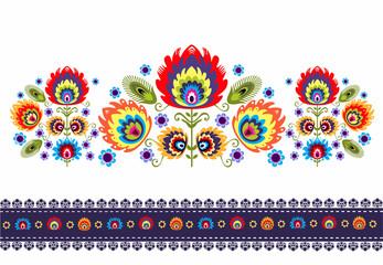 wzór ludowy z kwiatami
