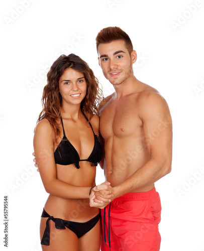 Fototapety, obrazy: Loving couple in swimwear