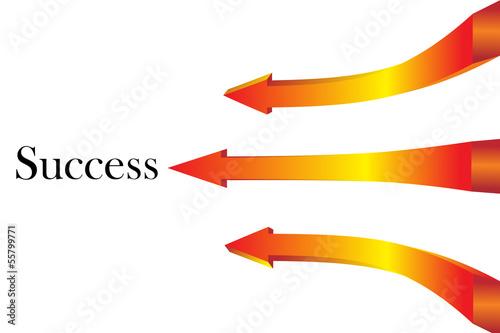 Rising orange arrows 3D - 3d render to the success