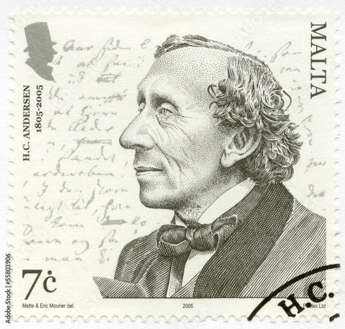MALTA- 2005: shows Hans Christian Andersen (1805–1875), writer Wallpaper Mural