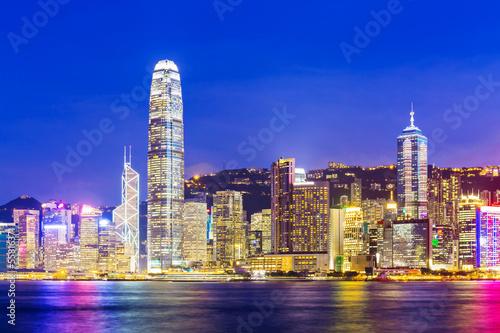 Fototapety, obrazy: Skyline at night in Hong Kong