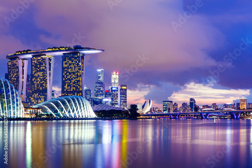 Poster Singapore Singapore skyline at night