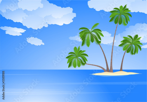 Wall Murals Green coral Tropical island with coconut palm trees. Vector.
