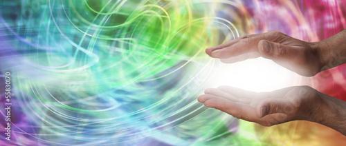 Plissee mit Motiv - Male healer website header