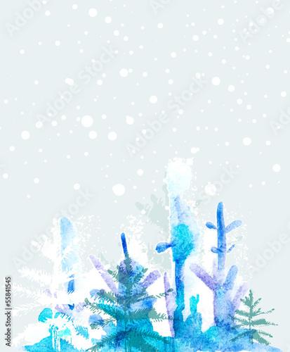 Poster Retro Winter watercolour background