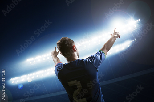Fotografie, Obraz  Soccer player with arms raised cheering, stadium at night time