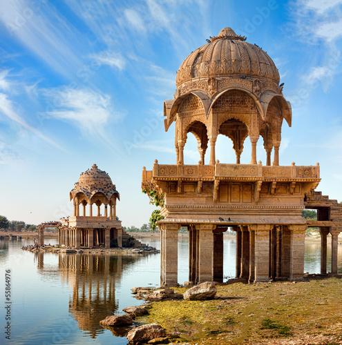 In de dag India Gadi Sagar (Gadisar), Jaisalmer, Rajasthan, India, Asia
