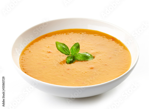 Fotografie, Obraz  bowl of squash soup with basil
