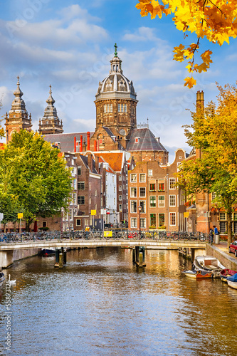 Fotobehang Athene St. Nicolas Church in Amsterdam
