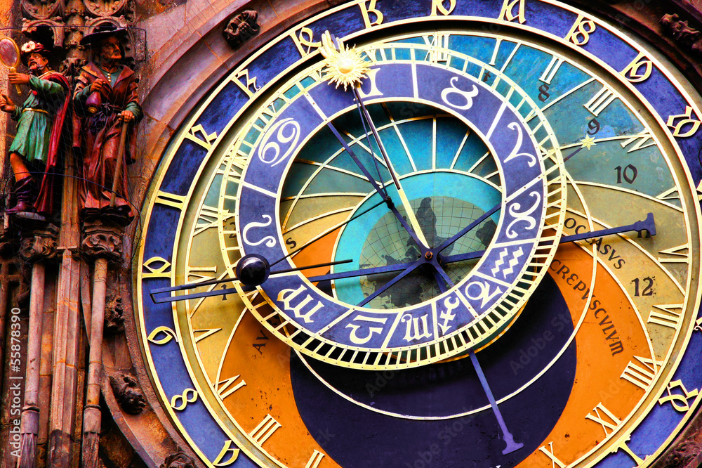 Fotografie, Obraz  Close up of the Prague astronomical clock, Czech Republic